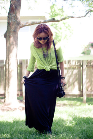neon Forever 21 top - simple maxi calvin klein dress - Target bag