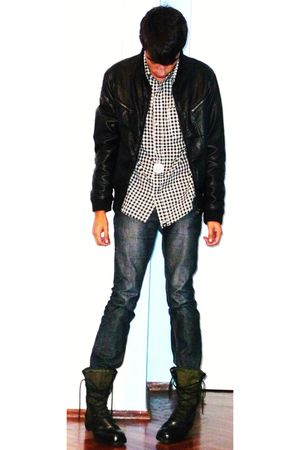 black Zara jacket - blue Zara jeans - black Army Boots boots - shirt - necklace