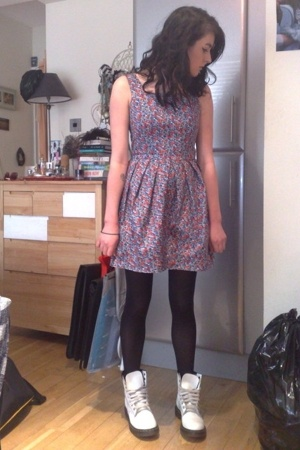 Topshop dress - M&amp;S tights - Dr Martens boots
