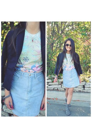 sky blue love my blazer denim skirt