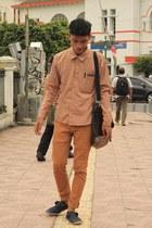 brown shirt - Chino pants - navy flats