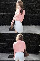 pink dot Zoo emporium shirt - clutch vintage bag - denim blue Marcs shorts