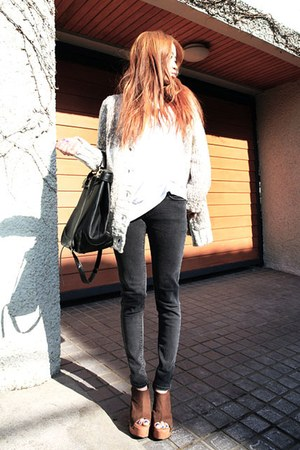 washed black Paige jeans - Jeffrey Campbell wedges - mothers cardgan cardigan