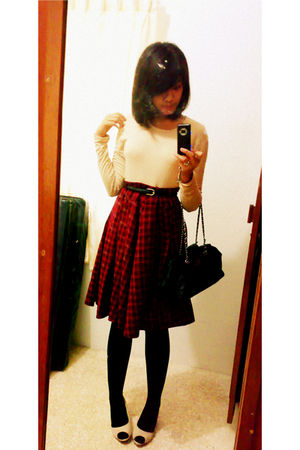 beige top - red Evolve skirt - black stockings - beige rubi shoes - black Equip