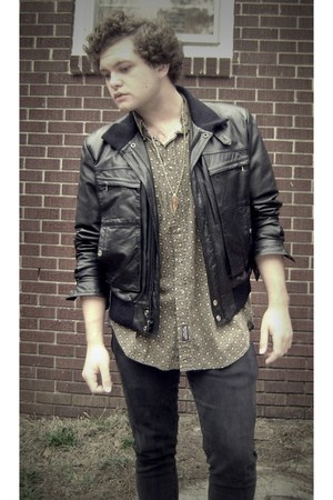 black leather thrifted jacket - olive green paisley thrifted shirt - gold leaf t
