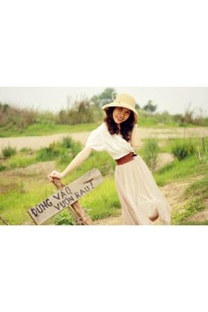 nude veil dress - yellow cotton hat - blouse - silver bracelet
