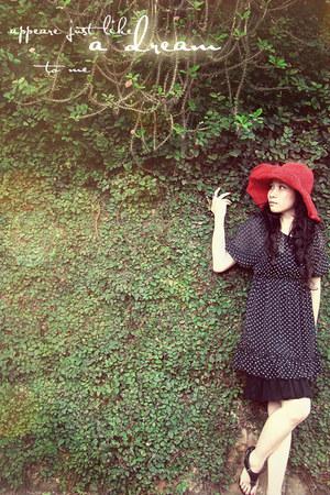 black dotted black dress - ruby red red hat - black black leather sandals