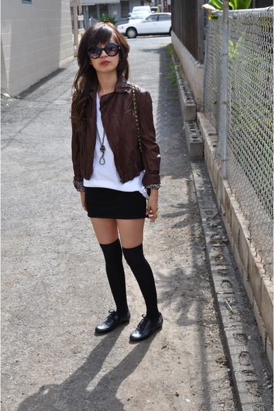 jacket - t-shirt - dress - tights - shoes - Chanel lambskin 255 accessories