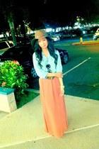 peach Forever21 skirt - light brown Forever21 hat - sky blue Levis top