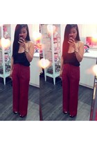 red Goodwill pants - black Zara top