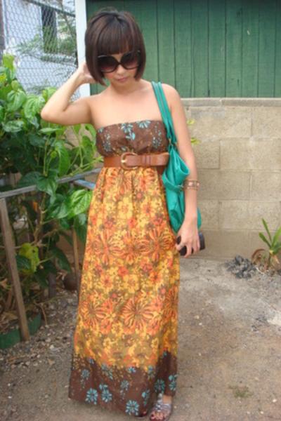 Forever21 dress - Forever21 belt - alloy purse - Ninewest shoes