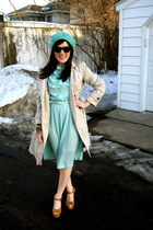 tan Target shoes - mint vintage dress - teal Target hat - trench Old Navy jacket