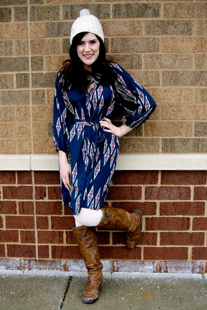 brown Steve Madden boots - aztec Target dress - cream Gap hat