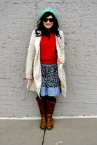 brown Steve Madden boots - teal Target hat - trench coat Old Navy jacket - red T