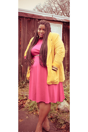 camel thrifted flats - hot pink thrifted dress - mustard thrifted blazer