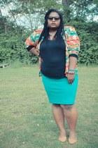 carrot orange thrifted blazer - black Target shirt - turquoise blue Target skirt