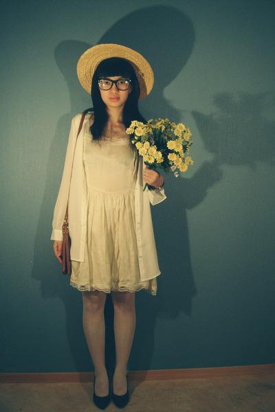 ginatricot dress - lindex bag - cubus blouse