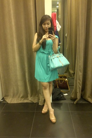 Mango dress - - Hermes bag - Heat Wave wedges