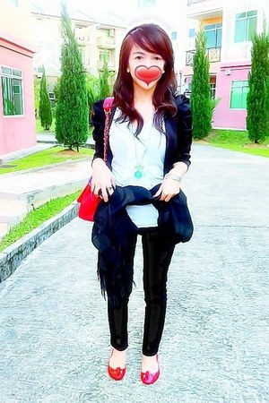 black Sub cardigan - red Bata shoes - black Mango scarf - channel hongkong bag
