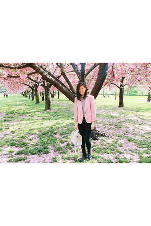 pink Zara blazer - black high-waisted American Apparel jeans