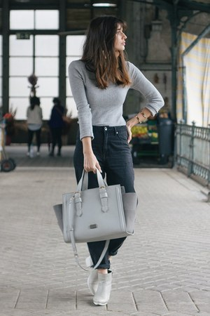 silver asos boots - silver Parfois bag - silver Primark top