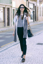 black Zara pants - white Mango coat - charcoal gray Zara t-shirt