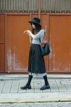black Zara skirt - silver Stefanel dress - black H&M hat