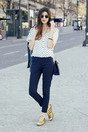 white Zara shirt - navy Zara leggings - gold Adidas sneakers