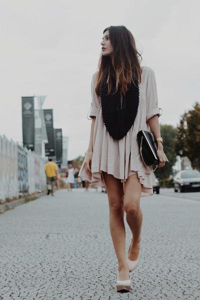peach asos shoes - peach H&M dress - black Saako scarf - black Zara bag