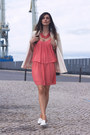Coral-zara-dress-white-kookai-blazer-white-zara-flats