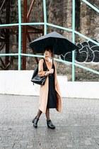 camel asos coat - black & other stories dress