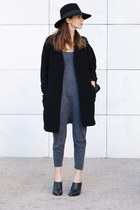 black H&M hat - gray Zara dress - silver Parfois earrings