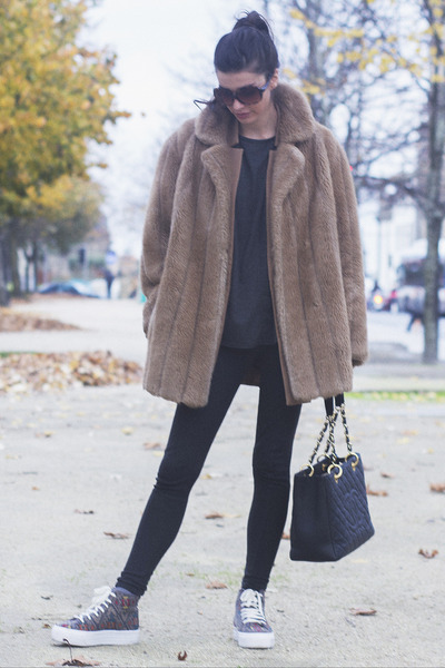 vintage coat - Chanel bag - Urban Outfitters sneakers