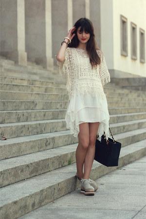 Zara dress - Eureka boots - Zara shirt - Chanel bag