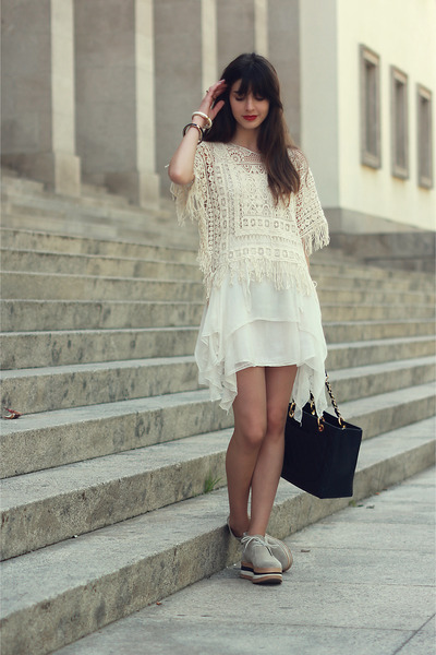 Zara dress - Eureka boots - Zara shirt - Chanel bag