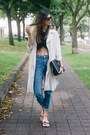 Off-white-h-m-coat-blue-denim-topshop-jeans-black-zara-top
