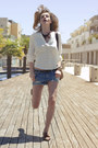 Sky-blue-denim-zara-shorts-brown-topshop-shoes-cream-h-m-shirt