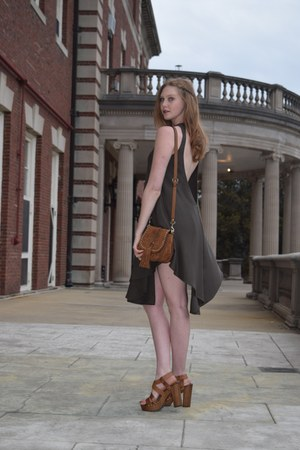 dark green Tobi dress - brown asos bag - brown asos sandals