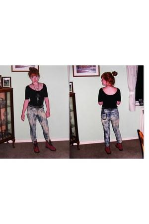 Primark jeans - plaid dr martenes boots - Topshop top