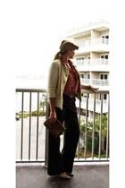 Urban Outfitters hat - lauren moffatt jacket - BCBG pants - J Crew belt