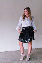black sequin trim Theory skirt - silver Target blouse