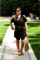 black Rachel by Rachel Roy dress - black aviators Ray Ban sunglasses