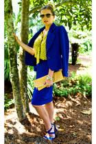 blue Givenchy blazer - camel American Apparel bag - yellow Topshop blouse - blue