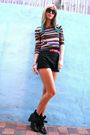 Thrifted-blouse-zara-shorts-nine-west-boots-karen-walker-knockoffs-sunglas
