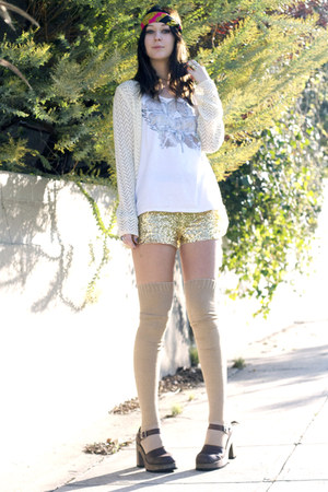 sequined H&M shorts - thigh high American Apparel socks - aerosmith vintage t-sh