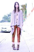 wedge UO boots - chunky Anthropologie sweater - lace tank Wasteland top