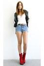 Platform-vintage-boots-biker-vintage-jacket