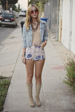 denim vintage jacket - lace up vintage boots - DIY shorts