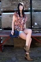 vintage blouse - vintage shorts - vintage purse - Jeffrey Campbell boots