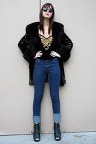 vintage top - Cheap Monday jeans - vintage coat
